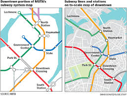 mbta boston map t subway maps not designed to scale don t resemble above