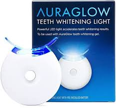 teeth whitening kit with led light teeth whitening kit auraglow 5x blue led light teeth whitening