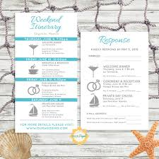 destination wedding itinerary template simple and modern wedding itinerary card with rsvp card