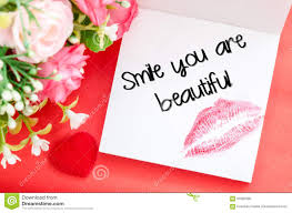 smile your are beautiful message stock photo image 67682090