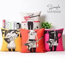 creative pop hand painted guitar pillow cover linen pillow