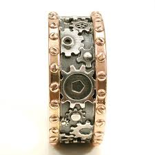 gear wedding ring gold steunk gear ring sterling silver mens engagement