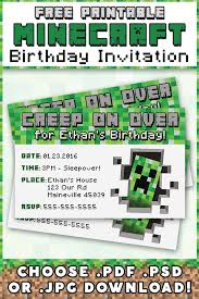 minecraft birthday invitations free minecraft printable invitation free printable pdf and birthdays