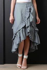 pinstriped ruffle high low maxi skirt u2013 cloudystone