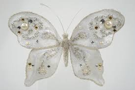 butterfly clip on ornament with pearls and glitter