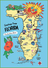 Florida Beaches Map by Pictorial Travel Map Of Florida