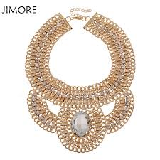 gold chunky necklace images Jimore fashion large crystal chunky necklace gold chain jpg
