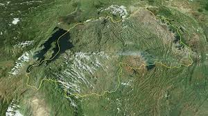 Map Of Rwanda Glide Over The Satellite Map Of Rwanda Outlined Motion Background