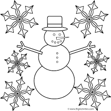 snowman snowflakes coloring winter