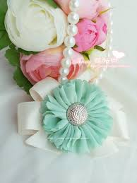 mint green corsage korean style flowers mint green bridesmaid wedding wrist