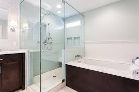 modern full bathroom with flat panel cabinets u0026 flush in atlanta