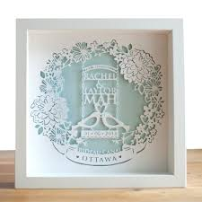 wedding gift keepsakes framed personalised paper cut picture wedding gift