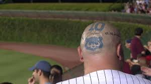 cubs fan has tattoos on top of shaved head youtube