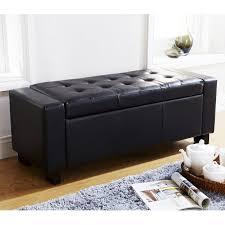 Ottoman Black Leather Black Leather Storage Arm Bench Ottoman Target Faux Box Seat