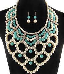 pearl crystal statement necklace images Pearl and crystal statement necklace and earring set gaudy JPG