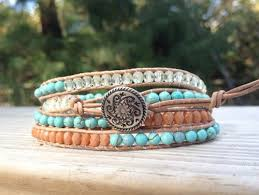 bracelet leather wrap images Turquoise wrap bracelet with silver flower jpg