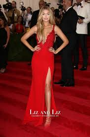 Red Carpet Gowns Sale by Gigi Hadid Red V Neck Evening Prom Dress Met Gala 2015 Red Carpet