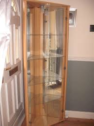 ikea tall corner display glass cabinet with lights cupboard unit