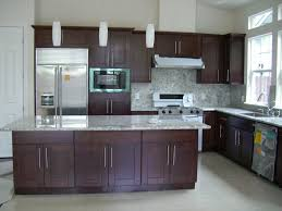 wonderful espresso kitchen cabinets also island escorted by white