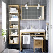 built in bathroom shelving ideas cool grey wood grain tiles wall