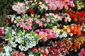 Flowershop Bouquets Of Artificial Flowers In Flower Shop Stock Photo Picture