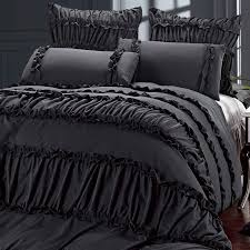 wonderful dark grey comforter with ruffle pattern for luxury bed