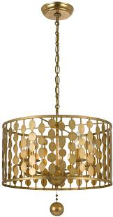 gold pendant light fixtures crystorama 545 ga layla modern antique gold drum pendant light