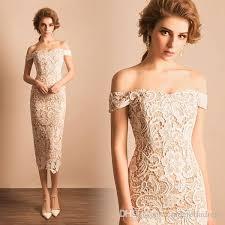 2017 elegant lace tea length wedding dresses slim fitted off