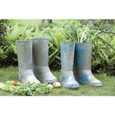 home decorators collection 14 in h silver iron boot planter
