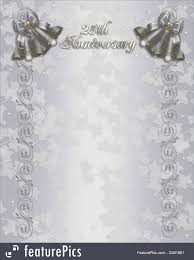 25th wedding anniversary invitation silver bells stock