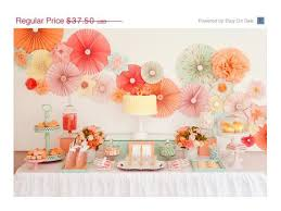 coral baby shower baby shower decorations party decor pack pomwheels and pompoms