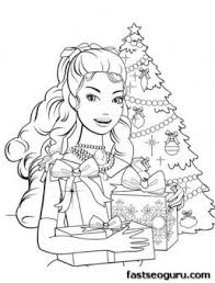 printable barbie christmas tree gifts coloring pages