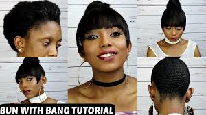 curly hair in high bun with bang incredible how to faux bun with bang on short natural hair no glue