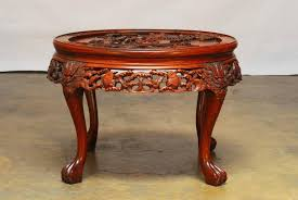 chinese rosewood side table round chinese carved rosewood tea table with nesting stools at 1stdibs