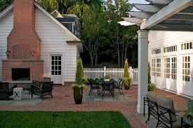 Outdoor Fireplace Patio Designs Garage Patio Designs Patio Traditional With Brick Patio
