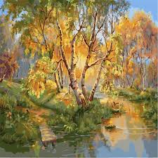 tree painting by numbers diy river landscape wall pictures