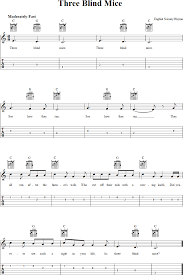 Blind Chords Three Blind Mice Chords Sheet Music And Tab For Guitar With Lyrics