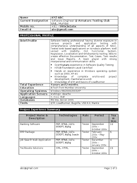 Sample Resume For Experienced Testing Professional by Manual Testing 1 Year Experience Resume Resume For Your Job