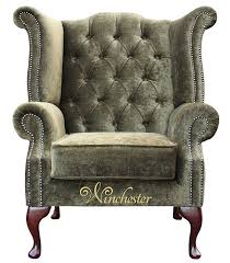 Queen Anne Wingback Chair Chesterfield Fabric Queen Anne High Back Wing Chair Moss Green