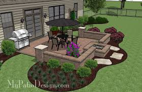 DIY Square Patio Design With Seat Wall And Fire Pit  Sq Ft - Patio wall design