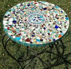 Patio Table Tile Top Sea Glass Mosaic Tabletop 10 Steps With Pictures
