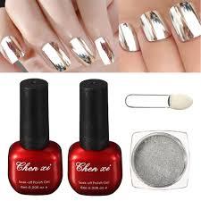 1 silver mirror metallic nail powder with brush 1 top coat 1