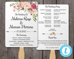 wedding fans programs wedding program fan template bohemian floral instant