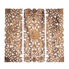 Wood Panel Wall Decor Balinese Headboard 3 Wood Decorative Wall Panels Hand Carved Floral
