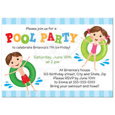 cute pool birthday party invitation with boy and on inflatables