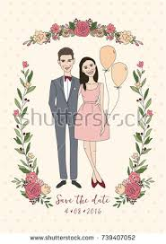 Groom And Groom Wedding Card Cute Couple Wedding Invitation Bride Groom Stock Vector 547923751