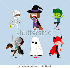 Halloween Childrens Costumes Halloween Kids Cartoon Children Costumes Stock Illustration