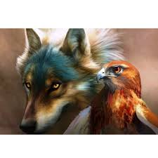 2017 diy paintings on canvas for pictures eagle and wolf