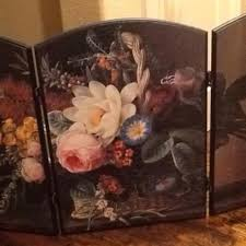 Hand Painted Fireplace Screens - best hand painted fireplace screen floral on black background