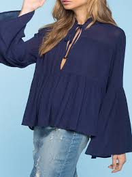 navy blue blouse navy blue ruffled solid bell sleeve blouse justfashionnow com